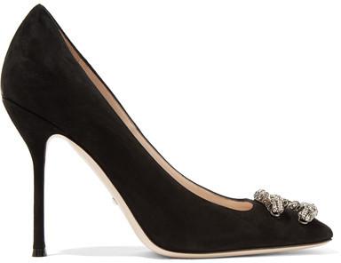 Gucci - Dionysus Embellished Suede Pumps - Black