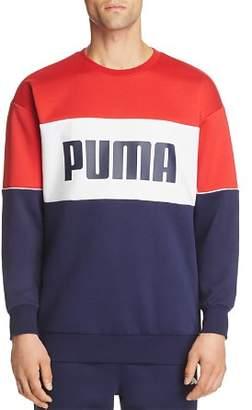 Puma Retro Color-Block Logo-Print Sweatshirt