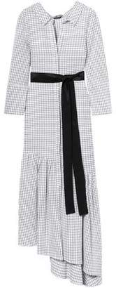Hellessy Asymmetric Belted Checked Cotton Midi Dress