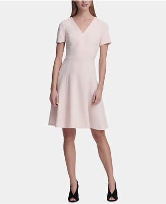 DKNY Short-Sleeve V-Neck A-Line Dress