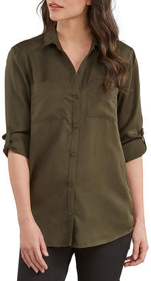 30c9fa8af77574 Dickies Lyocell Womens Long Sleeve Button-Front Shirt With Roll Sleeve Tab