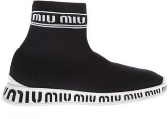 Miu Miu Black & White Knit High-top Sneakers