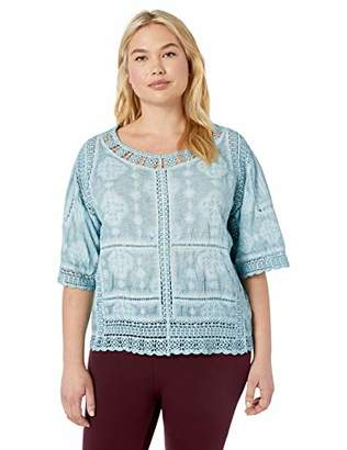 8d7535792fd Democracy Women s Plus Size Crochet Top with Kimono Sleeve