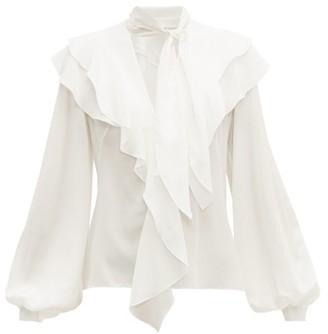 Peter Pilotto Ruffled Silk Crepe De Chine Blouse - Womens - White