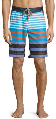 Robert Graham Inman Multi-Striped Long Swim Trunks, Multi $188 thestylecure.com