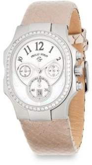 Philip Stein Teslar Classic Diamond and Leather Chronograph Strap Watch