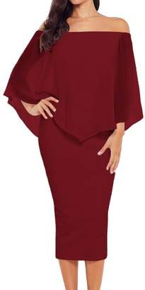 MiN New York Qiao Co. Qiao Women's Sexy Off Shoulder Multiple Dress Laye Party Cocktail Maxi Dresses