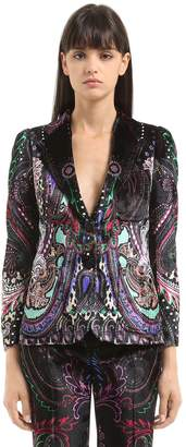 Roberto Cavalli Paisley Printed Velvet Jacket