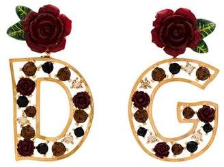 Dolce & Gabbana gold rose embellished earrings