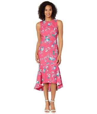Calvin Klein Floral High-Low Dress w/ Ruffle Hem