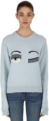 Chiara Ferragni Eye Intarsia Wool Blend Crewneck Sweater