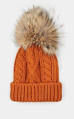 191c957483ed9 Crown Cap MEN S FUR POM-POM CABLE-KNIT BEANIE - ORANGE