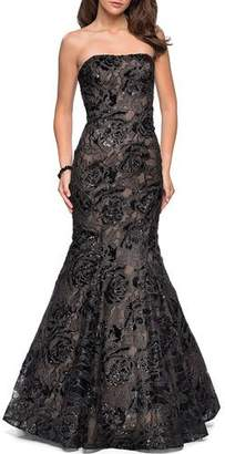 La Femme Sequin Strapless Mermaid Gown