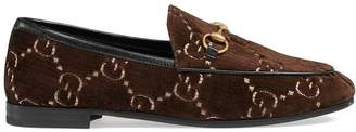 Gucci Brown Jordaan GG velvet loafers