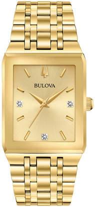 Bulova Men Futuro Diamond-Accent Gold-Tone Stainless Steel Bracelet Watch 30x45mm