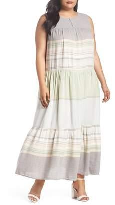 Caslon Multi Stripe Woven Maxi Dress (Plus Size)