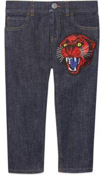 Gucci Children's denim pant with panther