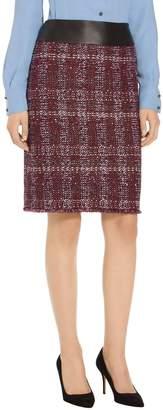 St. John Flecked Textures Plaid Knit Skirt
