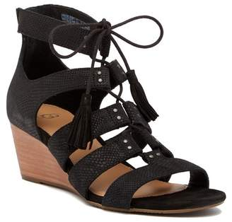 UGG Yasmin Snake Embossed Leather Wedge Sandal