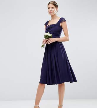 Asos Tall TALL WEDDING Lace Insert Cowl Midi Dress