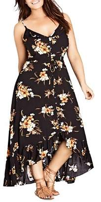 City Chic Plus Aruba Button-Front Floral-Print Maxi Dress