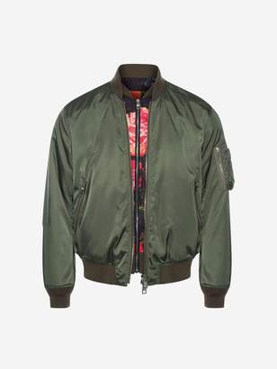 Alexander McQueen Painted Rose Bib Bomber Jacket
