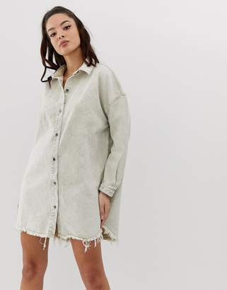 Missguided oversized denim shirt dress in sand