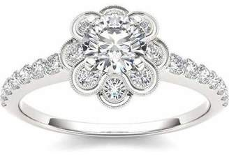 Imperial Diamond Imperial 1-1/4 Carat T.W. Diamond Flower Shape Single Halo 14kt White Gold Engagement Ring