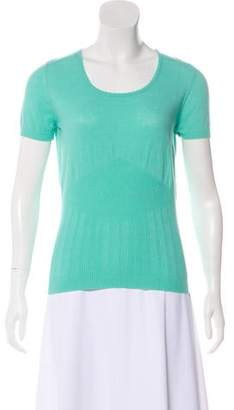 Oscar de la Renta Short Sleeve Knit Top