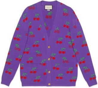 Gucci GG cherry jacquard wool knit cardigan
