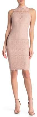 Love, Fire Fire Mock Neck Lace Sheath Dress