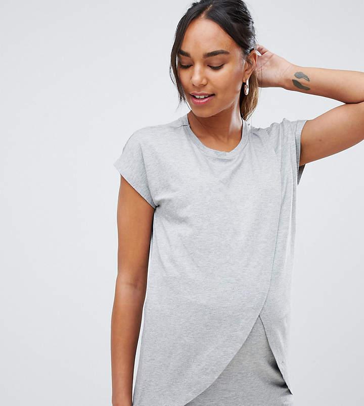 ASOS Maternity - Nursing ASOS DESIGN Maternity nursing t-shirt with wrap overlay
