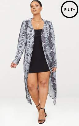 PrettyLittleThing Plus Grey Snake Print Duster Jacket