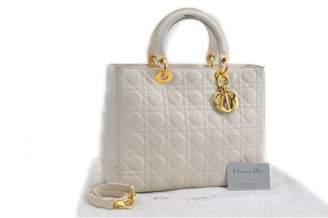 Christian Dior Lady White Leather Handbags