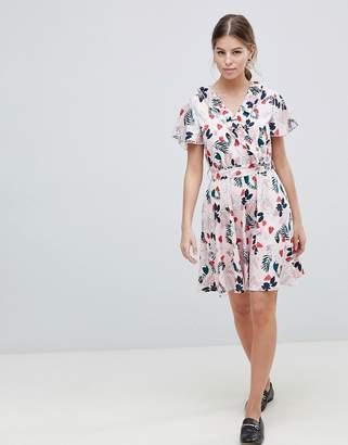 Yumi Leaf Print Belted Skater Dress