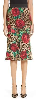 Dolce & Gabbana Rose & Leopard Print Cady Skirt