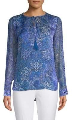 Elie Tahari Jolene Printed Silk Blouse