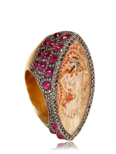 Sevan Biçakci Diamonds And Rubies Gold Ring