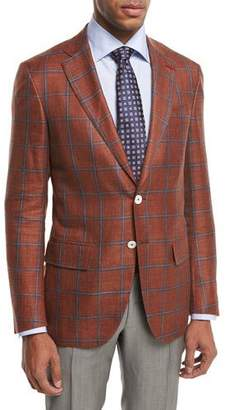 Isaia Sanita Plaid Two-Button Sport Coat, Rust/Blue