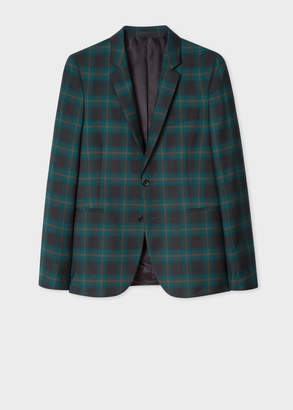 Paul Smith Men's Slim-Fit Teal Check Fully-Lined Wool Blazer