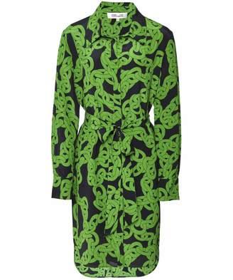 Diane von Furstenberg Women's Silk Crawling Chain Shirt Dress