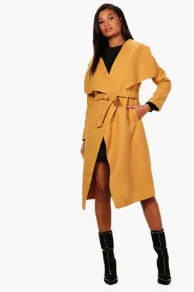 boohoo Belted Waterfall Coat