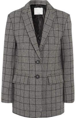 Tibi Aldridge Checked Wool-blend Tweed Blazer - Gray