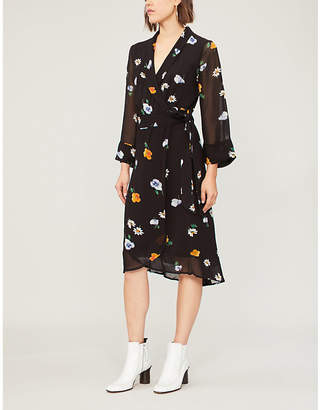 Ganni Dainty floral chiffon wrap dress
