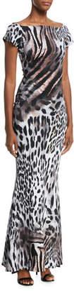 Chiara Boni Sita Animal-Print Short-Sleeve Gown