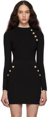 Balmain Black Knit Buttoned Sweater