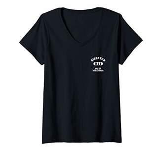 Womens West Virginia 911 Thin Yellow Line Emergency EMS Dispatchers V-Neck T-Shirt