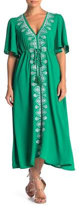 ONE ONE SIX Embroidered V-Neck Maxi Dress