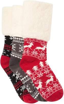 Sock Hub Striped Cabin Fleece Lined Slipper Socks - Pack of 3