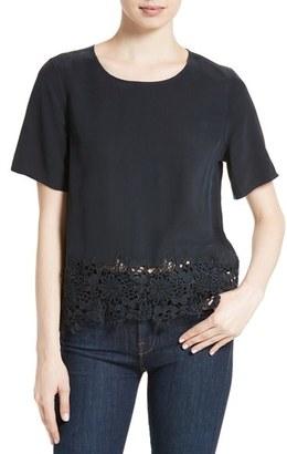 Women's Equipment Brynn Lace Hem Silk Top $198 thestylecure.com